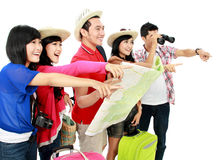 Happy young people tourists Royalty Free Stock Photography