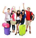 Happy young people on vacation Stock Photos