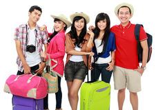 Happy young people on vacation Royalty Free Stock Photography