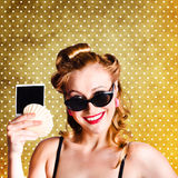 Happy Young Pin-Up Woman Showing Travel Picture Stock Photography