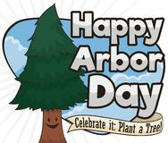 Happy Young Pine Celebrating Arbor Day with Greeting Ribbon, Vector Illustration. Happy, smiling young pine in a beautiful sky view celebrating Arbor Day with royalty free illustration