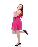 Happy young plus size woman and sending blow kiss Stock Photo