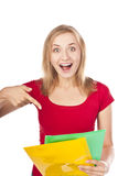 Happy young positive student. Isolated Royalty Free Stock Photography