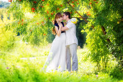 Happy and young pregnant couple hugging in the park. Summer vaca Stock Image