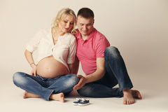 Happy young pregnant woman with her husband Royalty Free Stock Photo