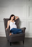 Happy young pregnant woman Royalty Free Stock Photos