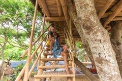 Happy Young Romantic caucasian Couple in gazebo on the tree, tropical Bali island, Indonesia.. Vacation Honeymoon Stock Photos