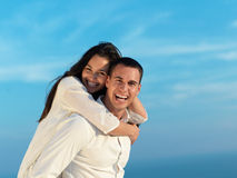 Happy young romantic couple have fun arelax  relax at home Stock Image