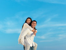 Happy young romantic couple have fun arelax  relax at home Stock Photos