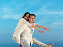 Happy young romantic couple have fun arelax  relax at home Stock Images