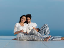 Happy young romantic couple have fun arelax  relax at home Stock Photo