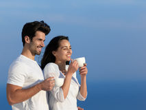 Happy young romantic couple have fun arelax  relax at home Stock Photography