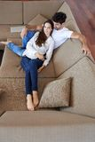 Happy young romantic couple have fun arelax  relax at home Royalty Free Stock Image
