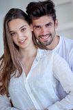 Happy young romantic couple have fun arelax relax at home. Happy young romantic couple have fun relax smile at modern home outdoor terace balcony terace stock photography