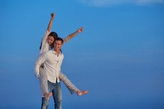 Happy young romantic couple have fun arelax  relax at home Royalty Free Stock Images
