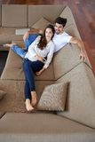 Happy young romantic couple have fun and  relax at home indoors Royalty Free Stock Image