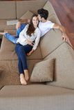 Happy young romantic couple have fun and  relax at home indoors Royalty Free Stock Images
