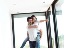 Happy young romantic couple have fun and  relax at home indoors Royalty Free Stock Photography