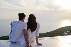 Happy young romantic couple have fun and relax at home royalty free stock image