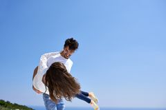 Happy young romantic couple have fun and  relax at home Stock Images
