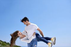 Happy young romantic couple have fun and  relax at home Stock Photography