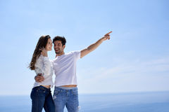 Happy young romantic couple have fun and  relax at home Royalty Free Stock Photos