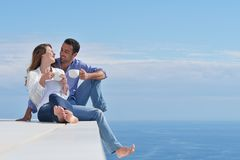 Happy young romantic couple have fun relax royalty free stock photography