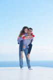 Happy young romantic couple have fun relax Stock Images