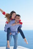 Happy young romantic couple have fun relax Stock Photography