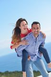 Happy young romantic couple have fun relax Stock Image
