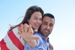 Happy young romantic couple have fun relax Stock Photo