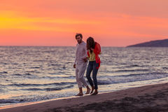 Happy young romantic couple in love have fun on beautiful beach at beautiful summer day.  Royalty Free Stock Photography