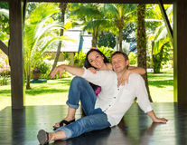 Happy young romantic couple in love. Love story and people`s at stock image