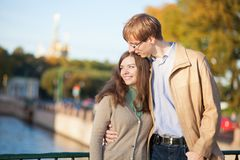 Happy young romantic couple outdoors Stock Image