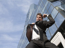 Happy young scuccessful  businessman Stock Image