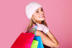 Happy Young Shopper Stock Images