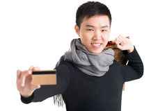 Happy young shopper Stock Photo