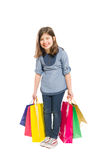 Happy and young shopping girl laughing Stock Photos