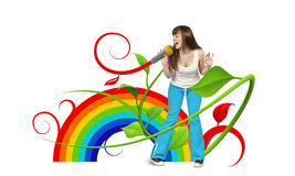 Happy young singer Stock Photography