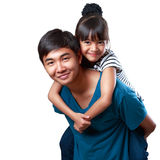 Happy young sister and brother. Closeup happy young sister and brother, Isolated over white Stock Images
