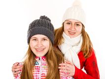 Happy young sisters. Portrait photo of happy young sisters on isolated white background Stock Photos