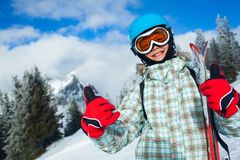Happy young skier. Skiing, skier, winter sports - portrait of happy young skier Stock Image