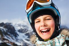 Happy young skier. Skiing, skier, winter sports - closeup portrait of happy young skier Royalty Free Stock Photography