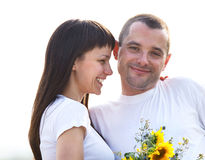 Happy young smiling couple Stock Photos