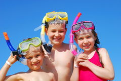 Happy young snorkelers Stock Images