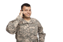 Smiling soldier chats on phone Royalty Free Stock Photo