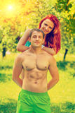 Happy young sporty couple in park instagram stile Stock Photo