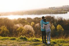 Happy young sporty couple sharing romantic moments royalty free stock images