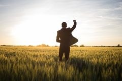 Happy young stilysh buisinesman with rised hand during the sunshine outdoors. Happy buisinesman having fun in summer fields, man in buisines suit enjoy of stock image