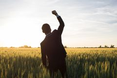 Happy young stilysh buisinesman with rised hand during the sunshine outdoors. Happy buisinesman having fun in summer fields, man in buisines suit enjoy of royalty free stock photo